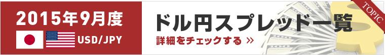 2015年9月ドル/円スプレッド比較